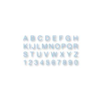 Alfabeto y números de goma EVA azul
