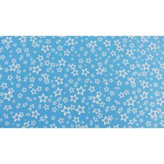 Goma EVA estampada estrellas blancas con fondo azul
