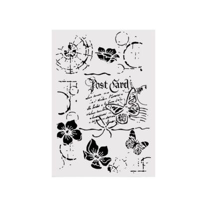 Stencil 21 x 29,7 cm. Mariposas y flores
