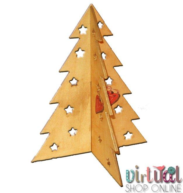árbol de navidad dorado con técnica de decoupage
